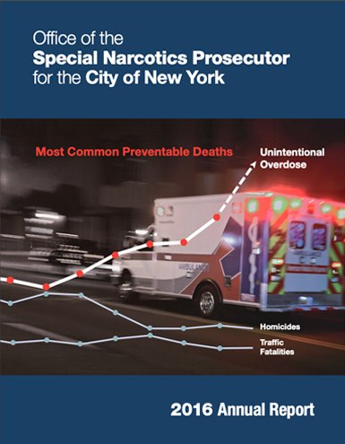 2016 Annual Report ambulance with a bulleted graph over it indicated different drug related deaths