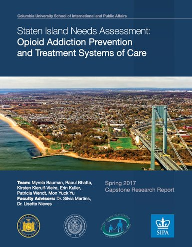 2017 opioid epidemic report cover with photo of a birds eye view of staten island with verazzano bridge showing