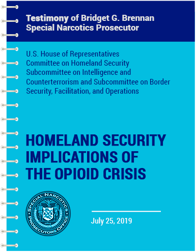 vector blue spiral notebook with Bridget's testimony homeland and security implications of the opioid crisis