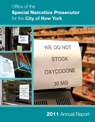 """Annual report 2011 drg store wuth a sign saying """"we do not stock oxycodone"""